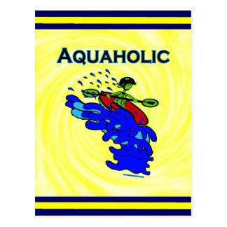 Whitewater Kayaker Aquaholic Blue Green Postcard