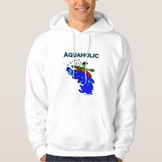 Whitewater Kayaker Aquaholic Blue Green Pullover
