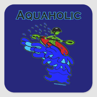 Whitewater Kayaker Aquaholic Blue Green Square Sticker