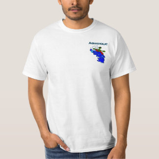 Whitewater Kayaker Aquaholic Blue Green T-Shirt