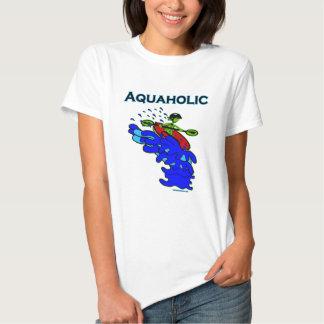 Whitewater Kayaker Aquaholic Blue Green T-shirt