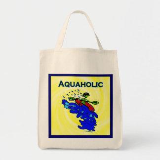 Whitewater Kayaker Aquaholic Blue Green Tote Bag