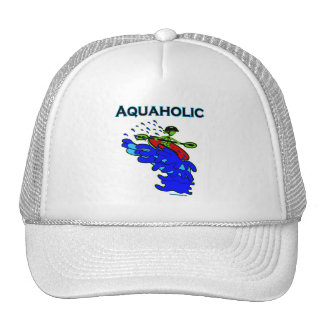 Whitewater Kayaker Aquaholic Blue Green Trucker Hat