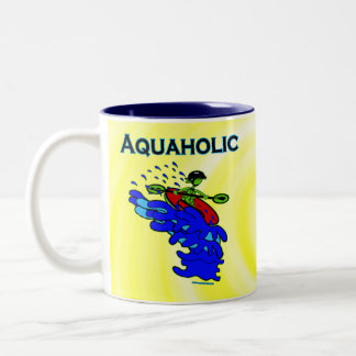 Whitewater Kayaker Aquaholic Blue Green Two-Tone Coffee Mug
