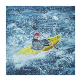 Whitewater kayaking painting canvas print