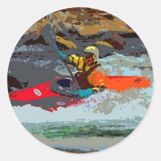 Whitewater Kayaking Pegatina Redonda