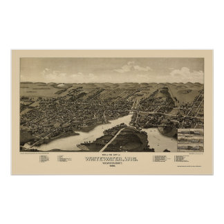 Whitewater, mapa panorámico de los WI - 1885 Póster
