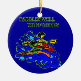 Whitewater Paddles Well With Others Double-Sided Ceramic Round Christmas Ornament
