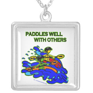 Whitewater Paddles Well With Others Silver Plated Necklace