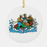 whitewater rafting trip graphic Double-Sided ceramic round christmas ornament