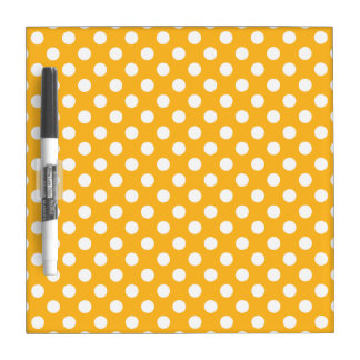 Whitle polka dots on yellow dry erase board
