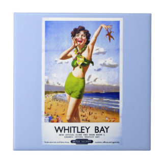 Whitley Bay Vintage Ad Ceramic Tile