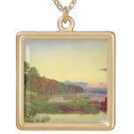 Whitlingham, Norfolk, 1860 (oil on canvas) Square Pendant Necklace