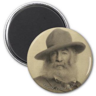 Whitman el buen poeta gris imán redondo 5 cm