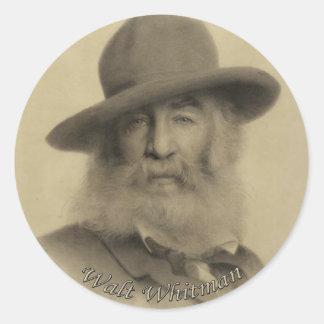 Whitman el buen poeta gris etiqueta redonda