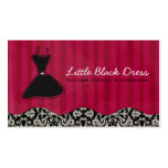 Whitney Black and Red Damask Chic Business Card