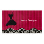 Whitney Black and Red Damask Chic Business Card 2
