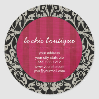 Whitney Black and Red Damask Chic Round Sticker