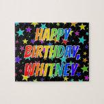 "[ Thumbnail: ""Whitney"" First Name, Fun ""Happy Birthday"" Jigsaw Puzzle ]"
