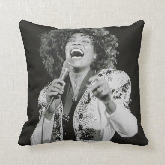 Whitney Houston   Singing BW Throw Pillow