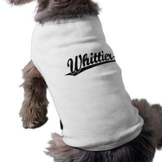 Whittier script logo in black distressed shirt