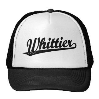 Whittier script logo in black trucker hat