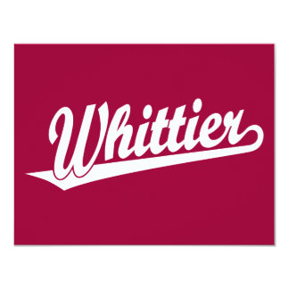 Whittier script logo in white card