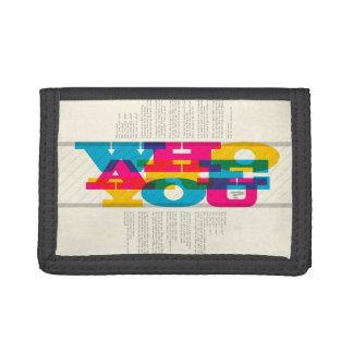who are you? black tri-fold nylon wallet