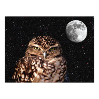 WHO ARE YOU LOOKING AT? (owl & moon design) ~ 6.5x8.75 Paper Invitation Card
