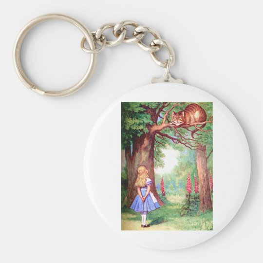 """""""WHO ARE YOU?"""" THE CHESHIRE CAT ASKS ALICE. KEYCHAIN"""