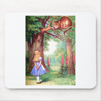 """WHO ARE YOU?"" THE CHESHIRE CAT ASKS ALICE. MOUSE PAD"