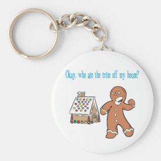 Who Ate The Trim Off My House? Basic Round Button Keychain