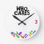 Who Cares Falling Numbers Wall Clock at Zazzle
