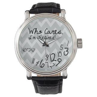 Who cares, I'm Retired! - eatlovepray logo Wristwatch