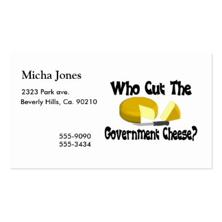 Who Cut The Government Cheese Double-Sided Standard Business Cards (Pack Of 100)