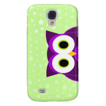 Who? Cute Mrs. Purple Owl Cartoon Star Background Galaxy S4 Cover