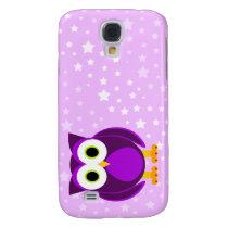 Who? Cute Mrs. Purple Owl Cartoon Star Background Samsung Galaxy S4 Case