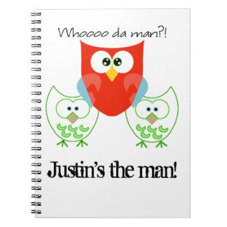 Who da Man? 3 Retro Colored Owls Spiral Note Books