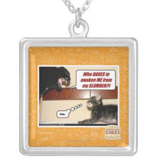 Who dares awaken me? square pendant necklace