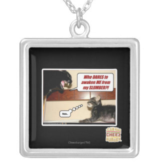 Who dares awaken me? silver plated necklace