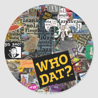 WHO DAT Collage Art Classic Round Sticker