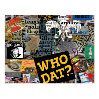 WHO DAT Collage Art Postcard