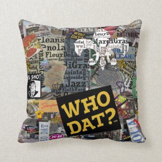 Who Dat? Collage Art  Square Pillow