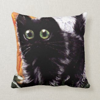 Who Dat Scaredy Cat Throw Pillow