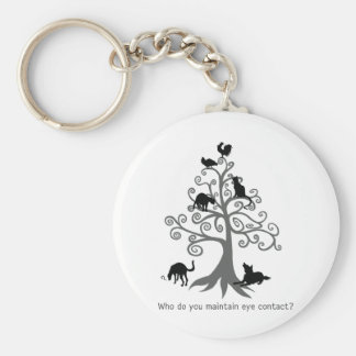 Who do you maintain eye contact? basic round button keychain