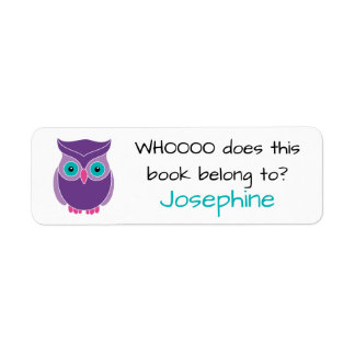 Who Does this Book Belong To Cute Kids Purple Owl Label