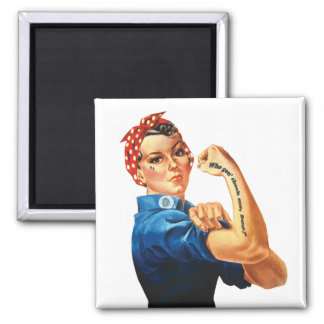 """""""Who gon' check me, boo?"""" - Rosie Riveter magnet"""