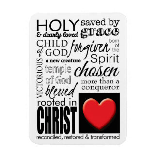 Who I Am in Christ Scripture Typography Magnet