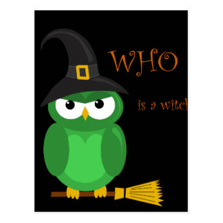 Who is a witch? - green postcard