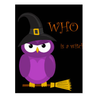 Who is a witch? - purple postcard